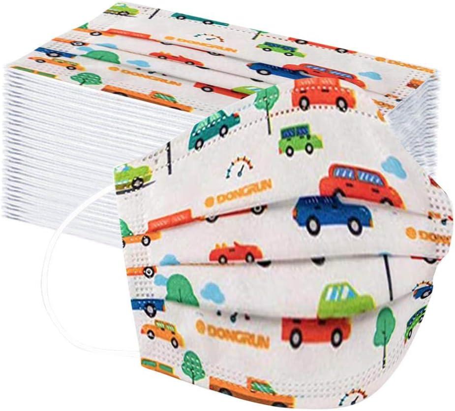 Kviklo - 50 fundas desechables para niños, 3 capas, no tejidas, para la boca, a prueba de polvo (coche, 50 unidades)