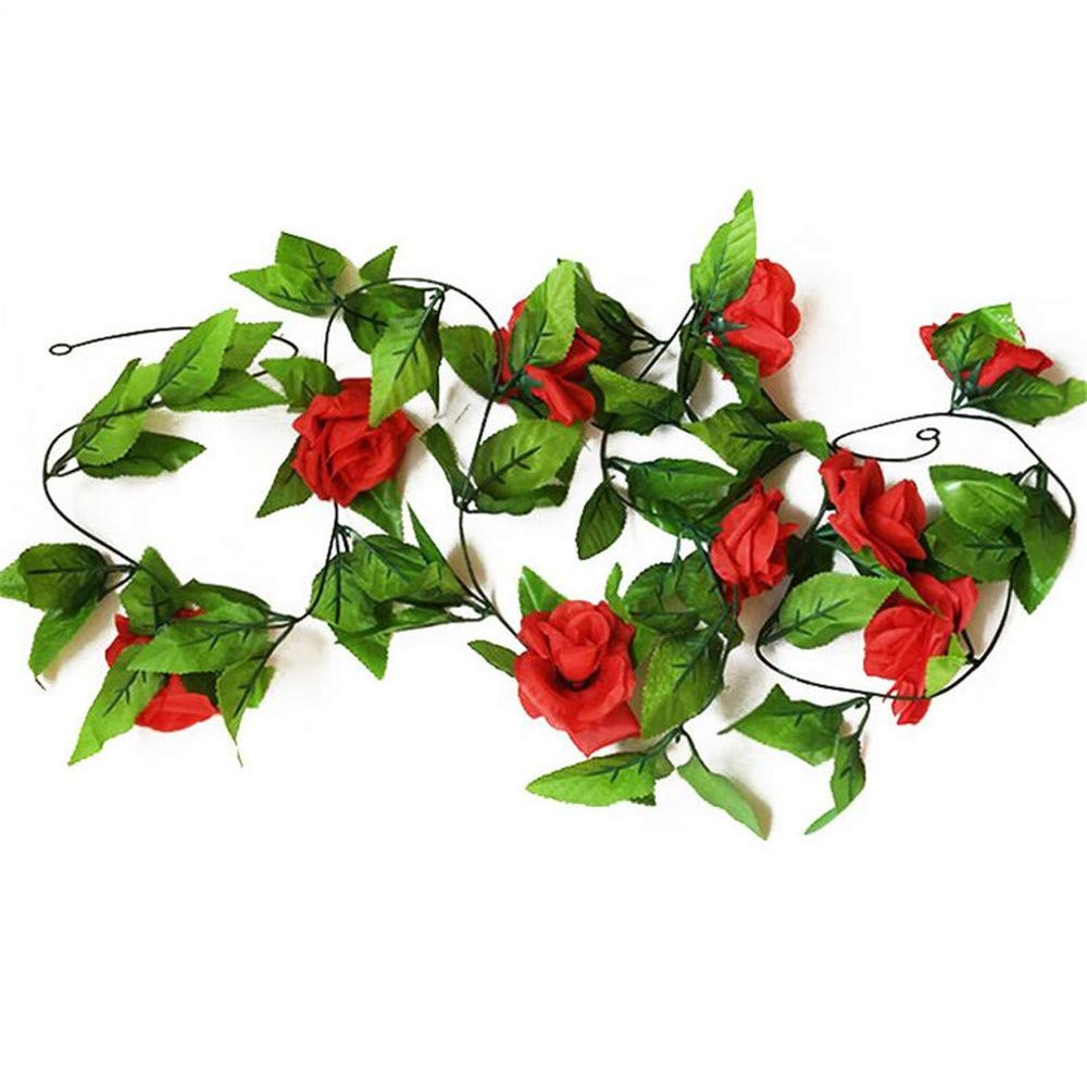HY-8-Feet-Pack-of-2PCS-Artificial-Fake-Silk-Rose-with-Red-Flower-Ivy-Vine-Hanging-Wedding-Dcor-Party-Home-Garden-Supermarket-Decoration-8-Colors-Red