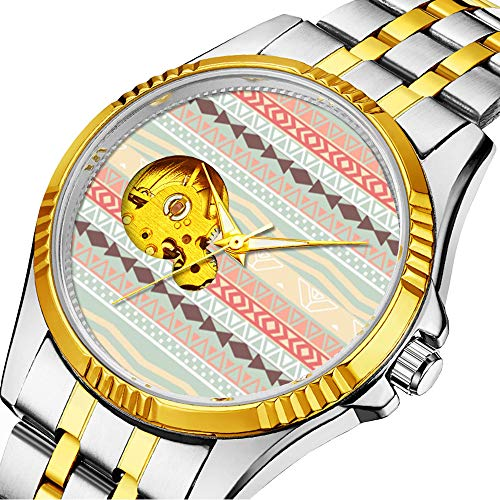 Casual Men Automatic Mechanical Watch Luxury Brand Casual Sports Watches for Male Personality dial & Clear Window 031.Aztec Retro Pink Brown Teal Geo Pattern