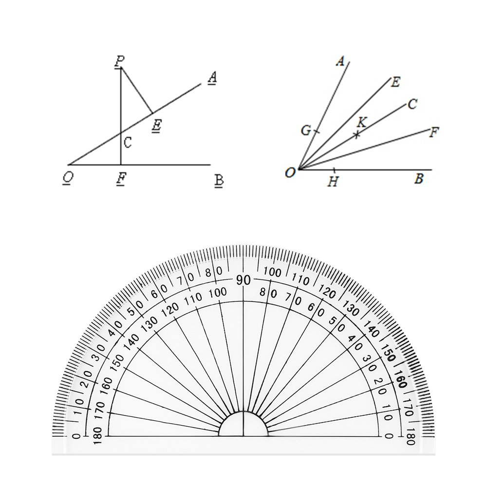 Coopay 24 Pack Plastic Protractors Clear Protractor Student Math Protractor Set 180 Degrees for Angle Measurement, 4 Inches by Coopay (Image #1)