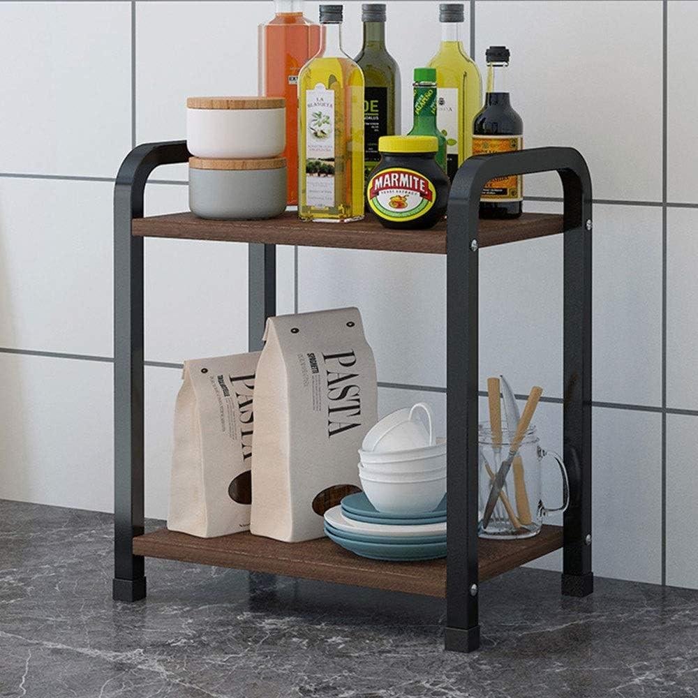 収納ラック キッチン用 サイズ33x20x43cmマルチレイヤ多機能省スペースストレージラック、ブラックフレーム、キッチンラック 便利 (Color : Black)