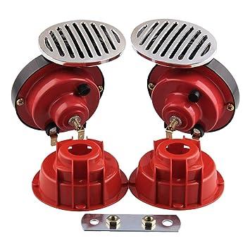 Fansport 2 Piezas Bocinas De Carro Cuernos Eléctricos Universal 12V Dual Tone Auto Horns para Camión: Amazon.es: Deportes y aire libre