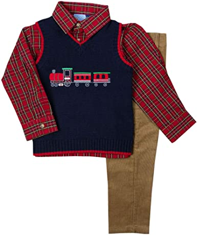 Good Lad Toddler and 4//7 Boys Holiday Grey Train Appliqued Sweater Vest Set