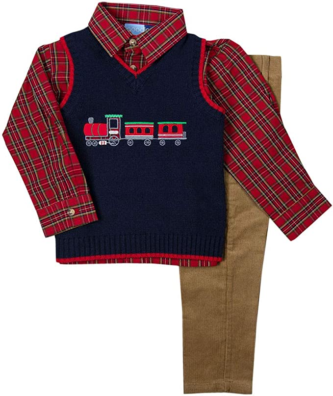 Good Lad Newborn and Infant Boy Reindeer Appliqued Holiday Three Piece Sweater Set
