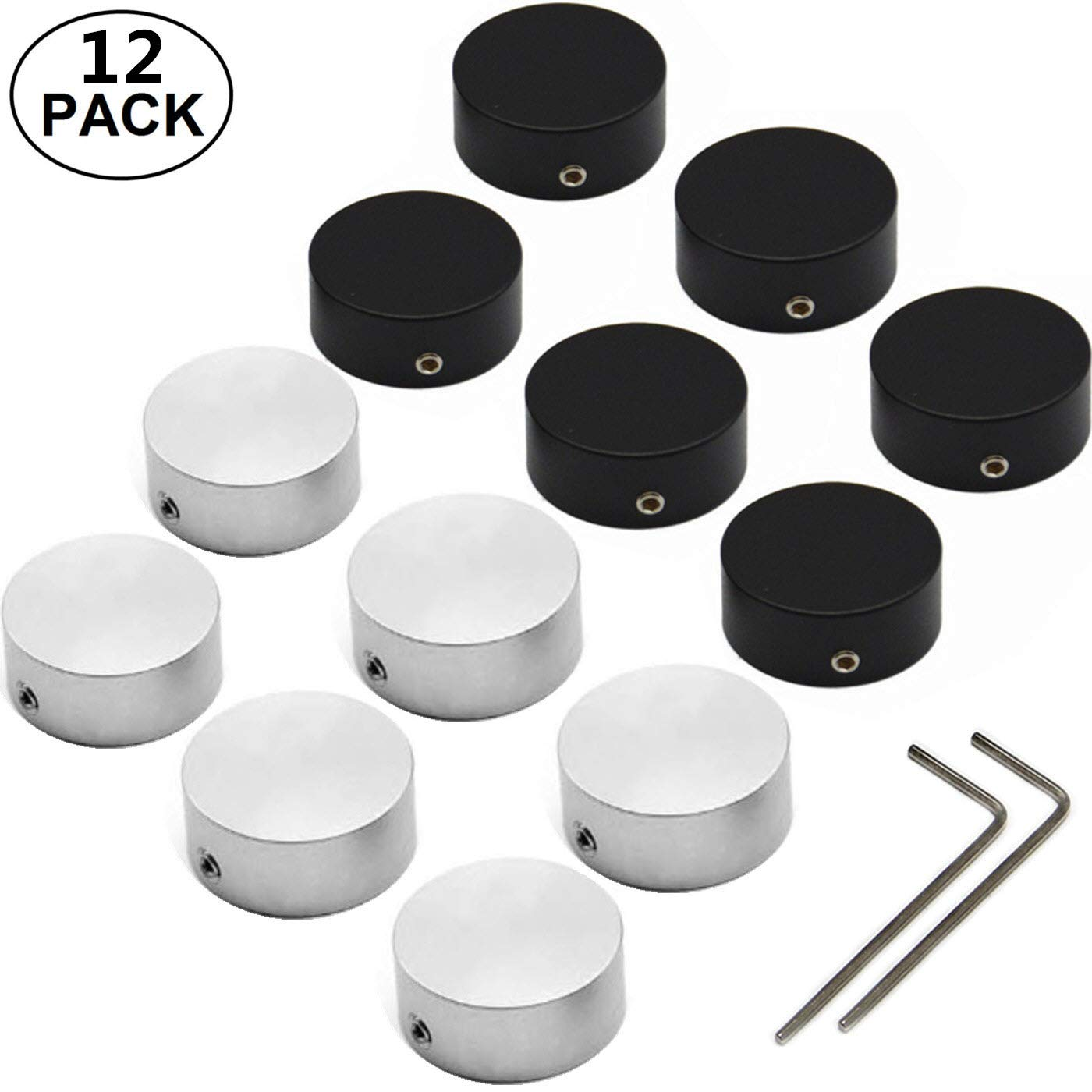 Effects Pedal Footswitch Topper kit with Rubber Inserts Locking Tight on bumper switches Increase accuracy comfort 12Pcs Silver+Black SOLUTEK