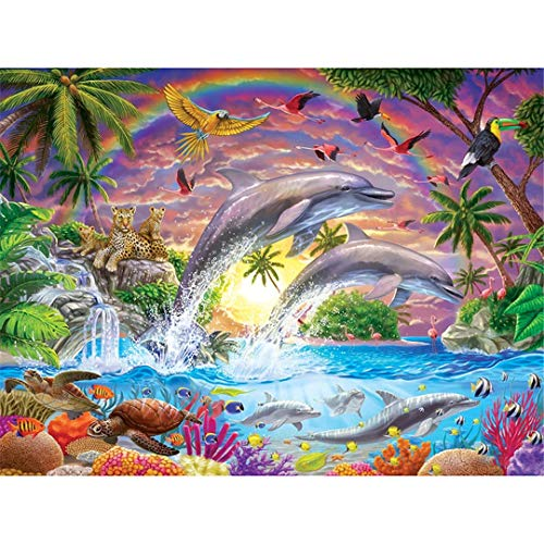 (NOveltyhua Square Diamond Embroidery Full Diamond Mosaic DIY 3D Diamond Painting Cross Stitch Dolphin Rhinestones Square Drill 40x60cm)