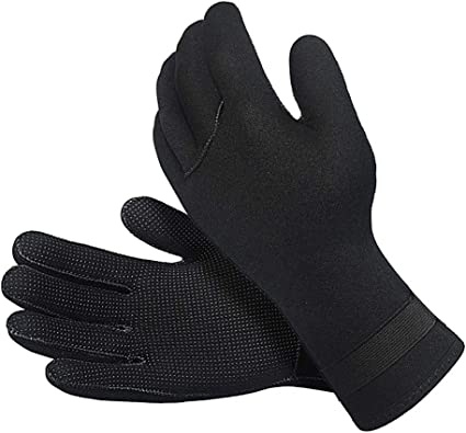 TINAYAUE 3MM Neoprene Wetsuit Gloves Cold Water Scuba Diving Gloves Five Fingers Water Sports Gloves Stretchy Snorkeling Paddling Surfing Boating Skiing Gloves for Men Women