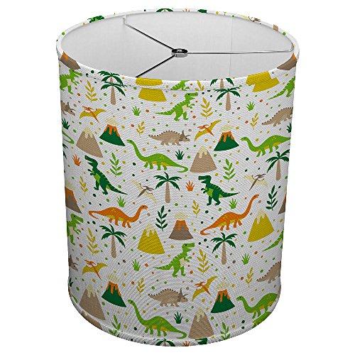 Hardback Linen Drum Cylinder Lamp Shade 8'' x 8'' x 8'' Spider Construction [ Happy Kids Dinosaur ] by ArtLights (Image #2)