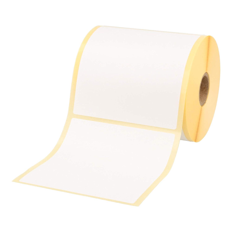 Labelident permanent haftende Thermo Etiketten Papier wei/ß matt 80 x 80 mm 1500 Thermodirekt-Etiketten auf Rolle mit 25 mm 1 Zoll Kern
