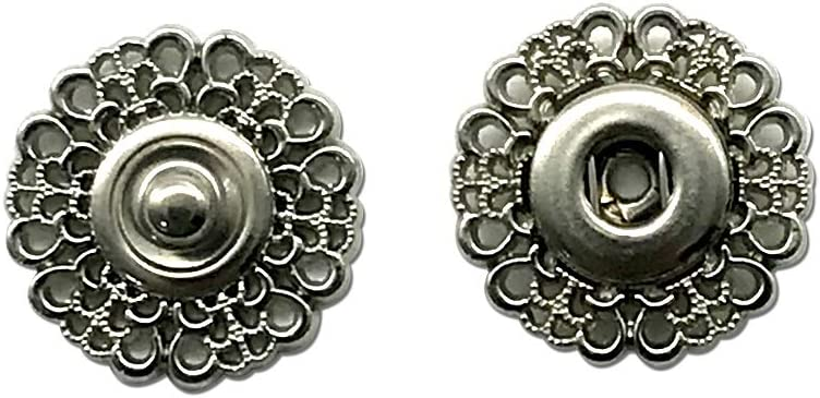 Dritz 442-9 Sew-On Snaps with Flower Design Size 25mm 2 Set White