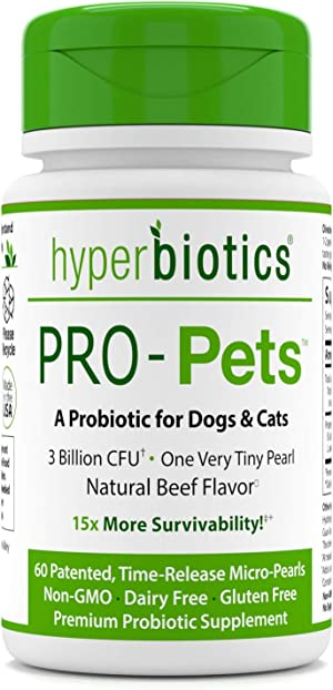 PRO-Pets Probiotics for Dogs and Cats: Time Release Probiotic for Your Companion's Health (Dog or cat) - Very Easy to Swallow - 6 Strains - 15x More Effective Than Others - Top Supplement for Pets