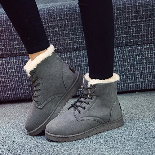 GreatParagon Paragon Winter Women Slippers Boots Ladies Snow Boots Flat Lace Up Ankle Boots Faux Fur Warm Lined Gray rAjDPKCS2