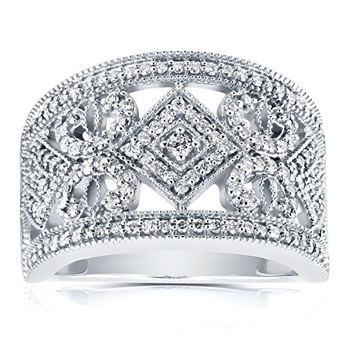 Ring Womens Edwardian - Diamond Edwardian Milgrain Anniversary Band 1/2 CTW in 10K White Gold, Size 7