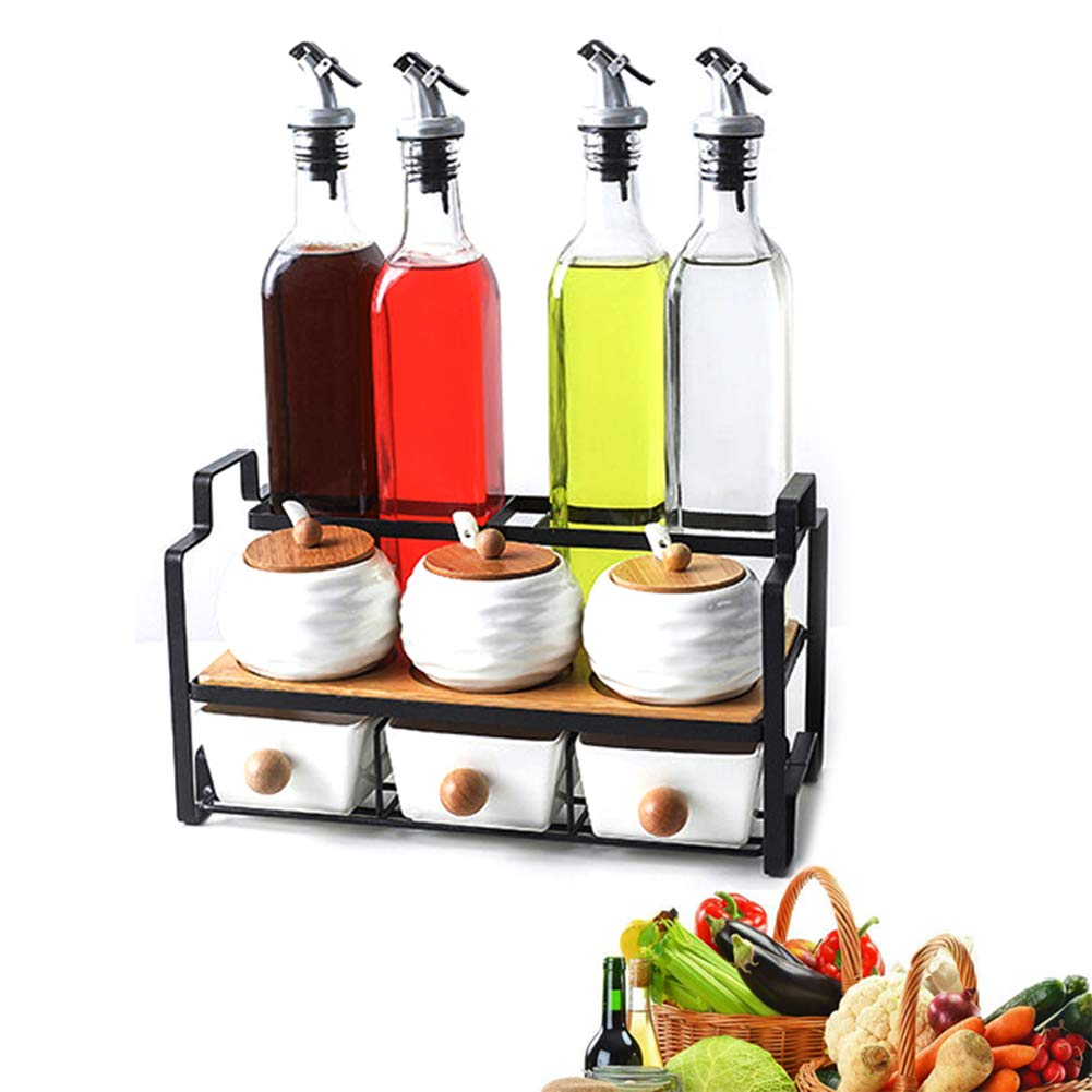MAI&BAO Oil Vinegar Bottle Pot Dispenser Kitchen Olive Sauce Dispenser Ceramic Seasoning jar Dust Proof and Leak-Proof Suit Design,Oilbottle&SpicejarsetC