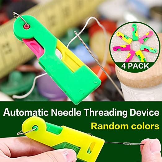 Elderly Easy to Use Automatic Needle Threader Thread Guide Needle Device Self Threading Hand Needle 9, Random Color Solve Needle Threading Problem Automatic Needle Threading Device