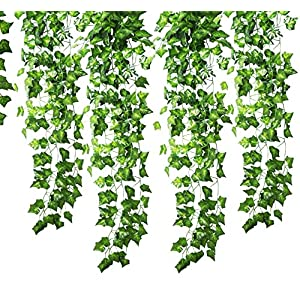 GoFriend 12 Strands (83 Feet) Artificial Ivy Garland Foliage Green Leaves Fake Hanging Vine Plant for Wedding Party Garden Wall Decoration 61