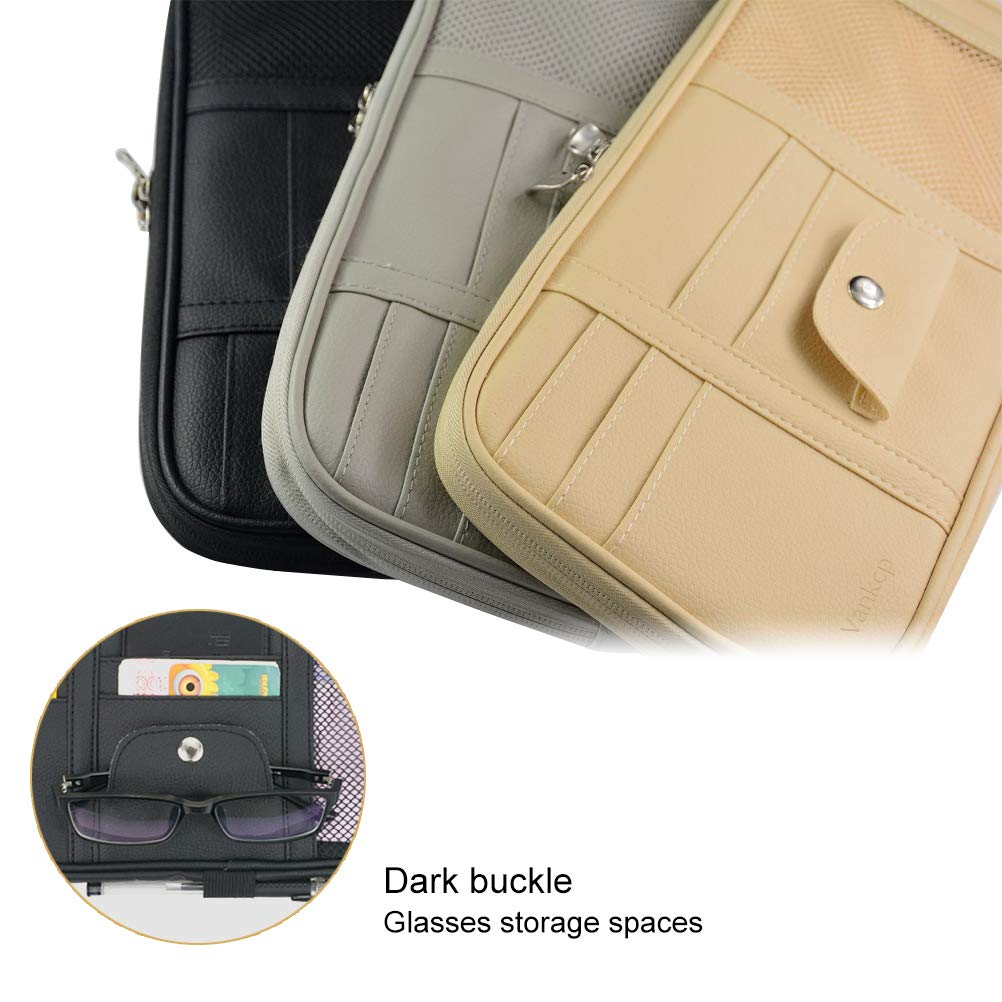PU Leather Vankcp Auto Interior Accessories Sunglass Pen CD Card Small Document Storage Pouch Holder Multi-Pocket with Zipper Net Black Car Sun Visor Organizer
