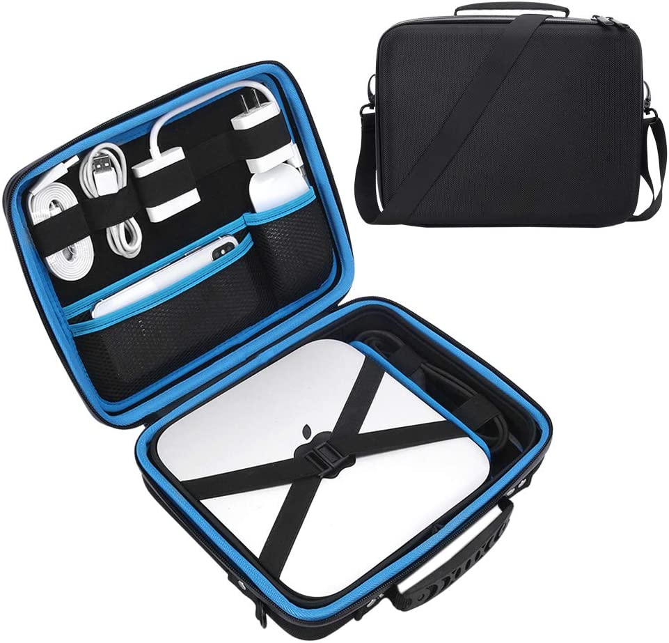 Esimen Hard Travel Case for Apple Mac Mini 3.6GHz 2.8GHz 2.6GHz,Mouse, USB-C Digital Multiport Adapter Charger Data Cable Storage Bag Carry Bag Protective Box Handbag (Black+Blue)