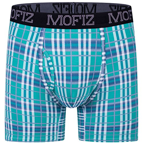 MoFiz Men's Modal Cotton Underwear Fitness Big Plaid Trunks with Support Pouch Green 2X-Large