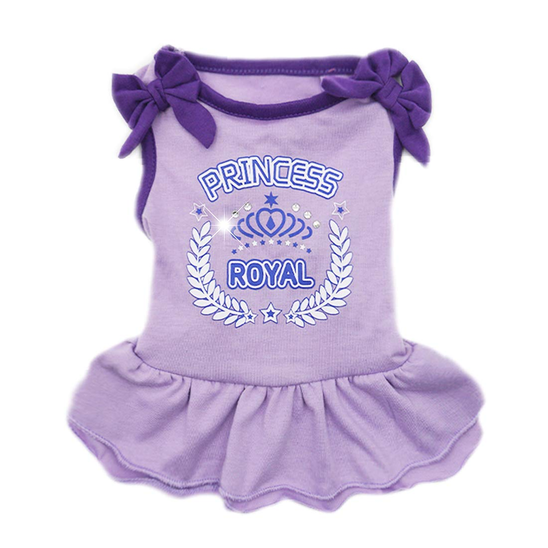 kyeese Dog Princess Dresses Purple Bowtie Pet Clothes for Small Dogs Vest Shirt Sundress