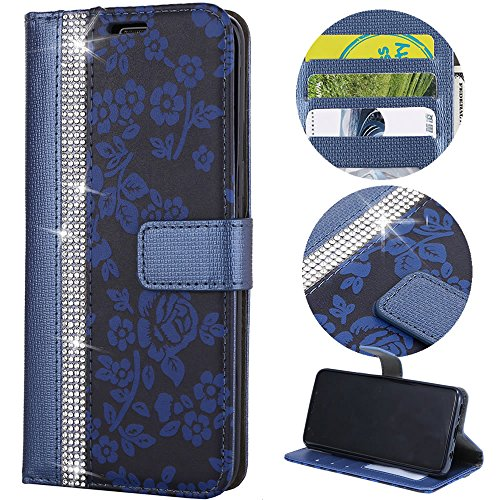 Stysen Wallet Case for Galaxy S8 Plus,Glitter Leather Case for Galaxy S8 Plus,Glitter Small Flower Design Stitching Color Diamond Flip Case Cover for Samsung Galaxy S8 Plus-Blue by Stysen
