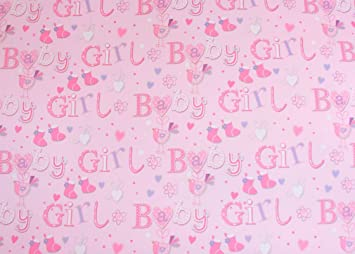 Simon Elvin Baby Girl Wrapping Paper 2 Sheets Of Gift Wrap One