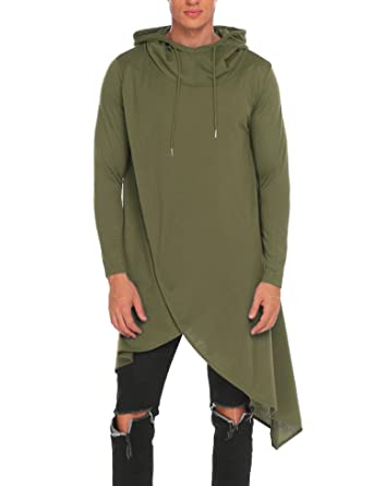 COOFANDY Mens Casual Hooded Poncho Cape Cloak Irregular Hem Hoodie Pullover Army  Green Small a2f6aef5b