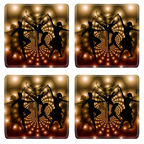 MSD Square Coasters Free illustration Ballet Dancers Woman Silhouettes Natural Rubber Material Image 359982