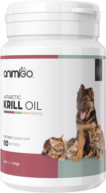 Animigo Aceite de Krill para Perros y Gatos | para Cuidado de Piel y Pelo | Suplemento Alimenticio Natural con Omega 3 y Ácidos Grasos | Complemento Alimenticio con EPA Y DHA | 60 Cápsulas Blandas