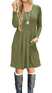 a9be5d82ad AUSELILY Women s Long Sleeve Pleated Loose Swing Casual Dress with Pockets  Knee Length