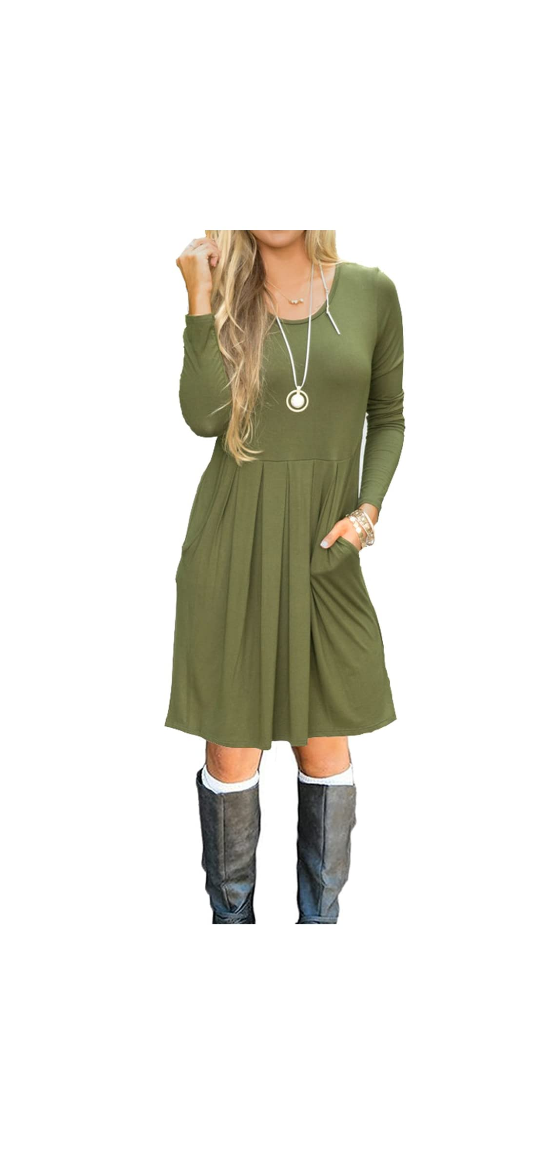Women's Long Sleeve Pleated Loose Swing Casual Dress