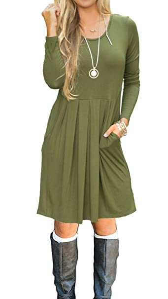 3da43086f8a AUSELILY Women s Long Sleeve Pleated Loose Swing Casual Dress with Pockets  Knee Length (XS