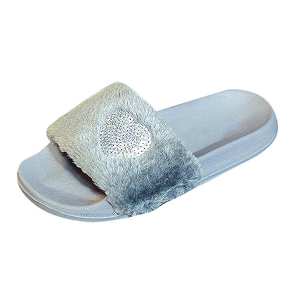 VECDY Damen Schuhe, Hausschuhe Streifen Hausschuhe Zuhause