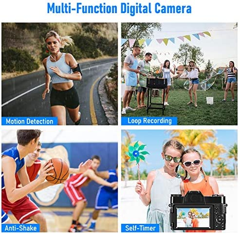 Camera 4K Digital Camera 48MP Vlogging Camera for YouTube 30FPS Vlog Camera 16X Digital Zoom Camera with Flip Screen Camera (Fixed Focus&Without Micro sd Card)