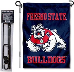 Fresno State Bulldogs Two Sided Garden Banner and Flag Stand Pole Holder Set