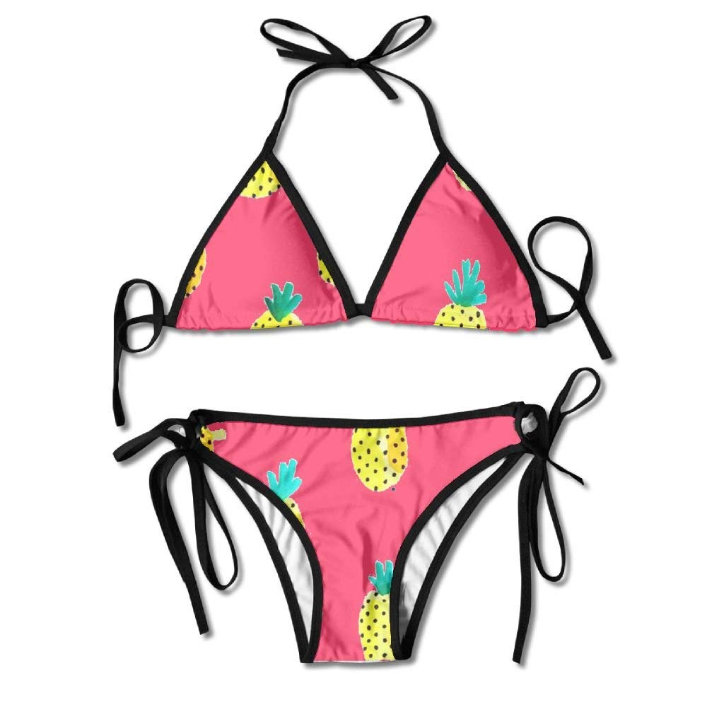 Cartoon Pineapple Model Women's Tie Side Bottom Bikini Suits Two Pieces Swimwear