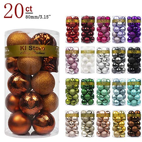 KI Store 20ct Christmas Ball Ornaments Shatterproof Christmas Decorations Large Tree Balls for Holiday Wedding Party Decoration, Tree Ornaments Hooks Included 3.15 (80mm Bronze)