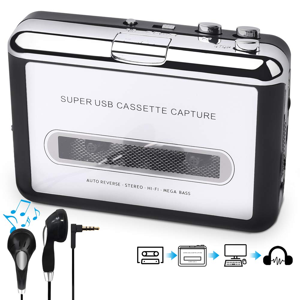 Audio Music Player Capture Cassette Recorder with Headphones for ...