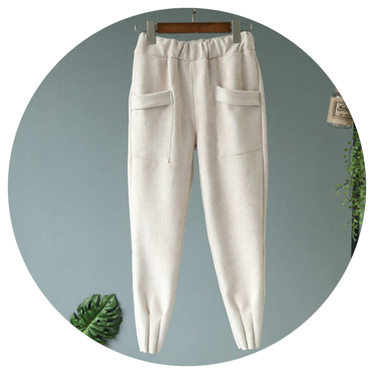 White Women Pants Leather Suede high Waist Harem Pants Women Sweatpants Pants Trousers