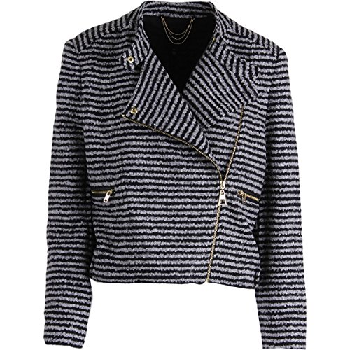 Juicy Couture Black Label Womens Boucle Striped Jacket Black-Ivory (Juicy Coat)