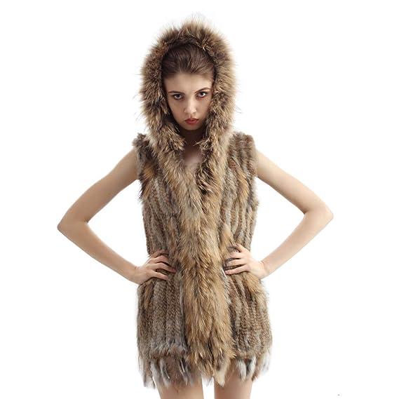 Vemolla Abrigo tejido y lujoso de la piel de conejo con gorro: Amazon.es: Ropa y accesorios