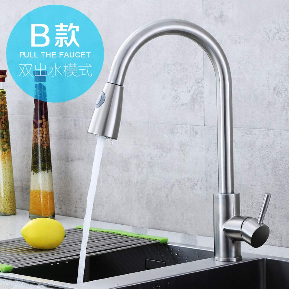 C Kitchen Taps YHSGY 304 Stainless Steel Hot and Cold Water Pumping Faucet Brushed redatable Kitchen Sink Dish Basin with Tube Faucet