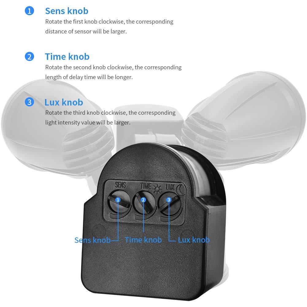 Lámparas de Seguridad,Comaie 2 bombillas LED de Sensor de Movimiento,30W Proyector LED Exterior Iluminación de Exterior Segura Potente IP65 Alimentado con ...