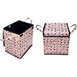 DECORHUT FAB Square Shape Foldable Multipurpose Laundry Basket Bag with Carry Handles and Zippered Lid for Home, Cloth Storage