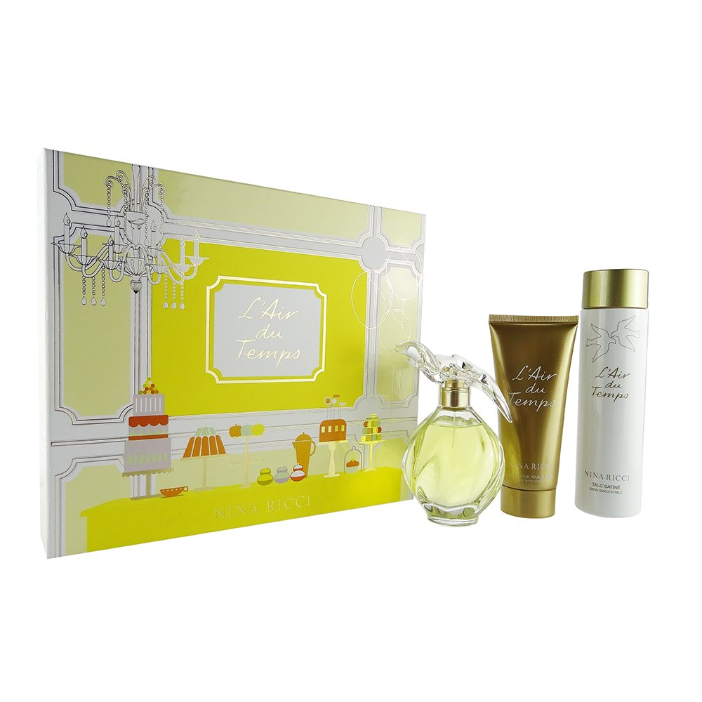 Nina Ricci L'Air du Temps 3 Piece Set - 3.4 EDT, 3.4 Soft Body Lotion, 4.2 Satin Smooth Talc