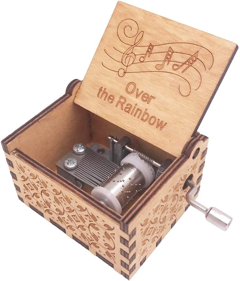 Youtang Music Box 18 Note Hand Crank Musical Box Carved Wood Musical Gifts,Play Over The Rainbow,Brown