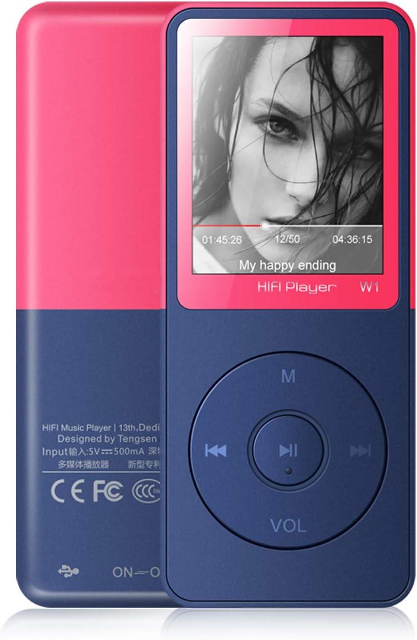 Vorstik Reproductor de MP3, Reproductor de Música HiFi Lossless Sound, Reproductor de Audio Digital de 1,8 Pulgada, hasta 100 Horas de Reproducción, Tarjeta de 128GB TF Ampliable.