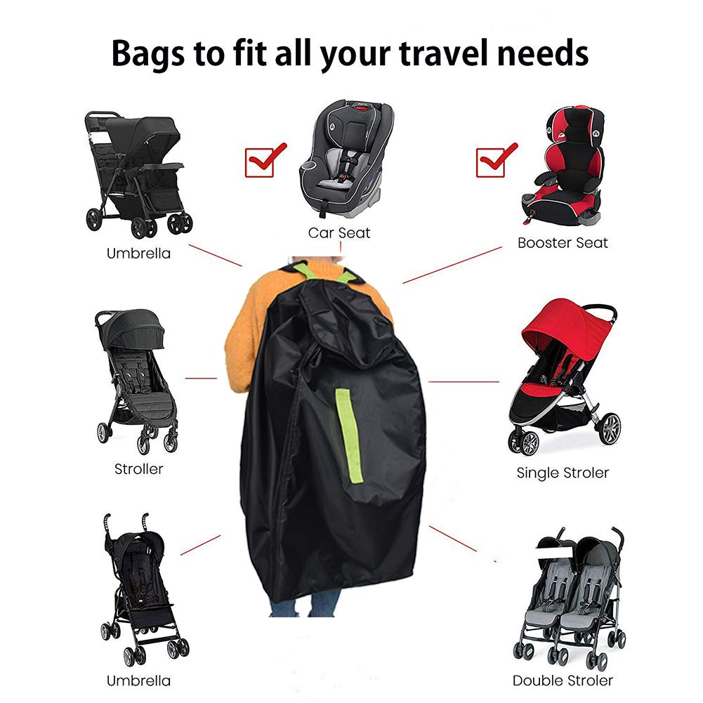 Boosters Cover and Protect Strollers Car Seat Travel Bag Gate Check Travel Bag With Backpack Shoulder Straps Car Seats Pushchairs for Airplane Airport Gate Check-in or Storage Infant Carriers and Wheelchairs