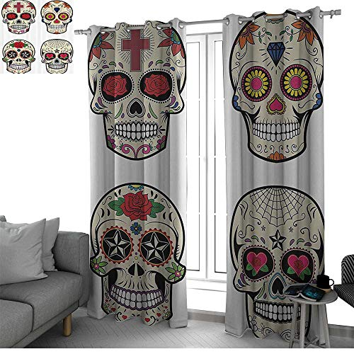 bybyhome Day of The Dead Decor Room Darkening Blackout Grommet Patio Door Curtain Panel Collage of Skulls with Gem and Floral Details for Celebration Theme Doorway Curtain Multicolor W84 x L96 Inch (Celestial Screen Fireplace)