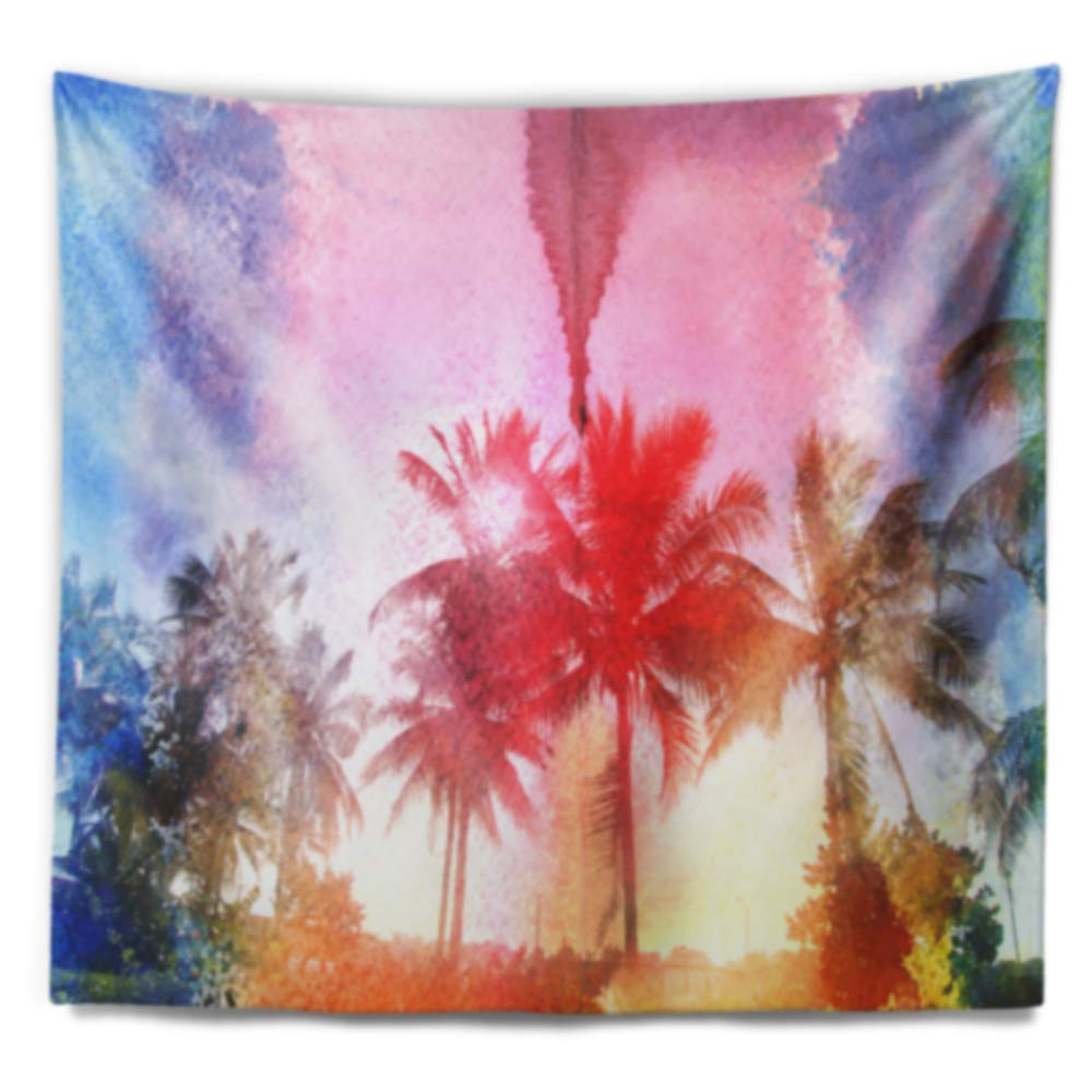 Designart TAP7797-60-50  Retro Palm Trees Long View Landscape Painting Blanket D/écor Art for Home and Office Wall Tapestry Large x 50 in 60 in Created On Lightweight Polyester Fabric